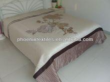 hot saling colorfull maroon applique bedspread set