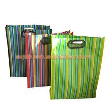 striped non woven die cut handle shopping bags