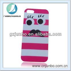Pink White Plastic Rubberized Case with Moustache design