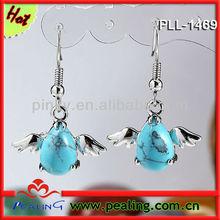 Charm Silver Plated Blue Turquoise Stone Crystal Swan Shape Dangle Women Earring Eardrop