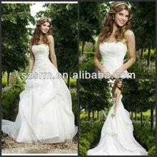 DW253 A-line Strapless Applique Floor Length Brush Train Organza Fairy Made Designer Wedding Dress