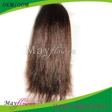 wholesale cheap human hair glueless wigs yaki straight short or long length Swiss lace
