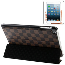 Hot-selling 3-folding Grid Texture Ultrathin Leather Case with Holder for iPad mini