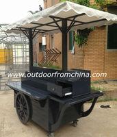 Outdoor street wooden mobile Vans/ hotdog vending carts/ food Vending cart