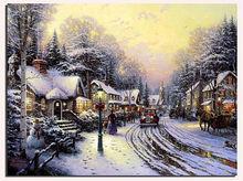 Minhou manufacturer reproduction thomas kinkade famous winter lighted christmas canvas art