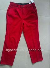 Ladies' 98%COTTON2%SPANDEX Candy Color Pants--KF5225