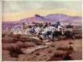 cowboy hechos a mano de pintura al óleo de caballos de carreras de imagen