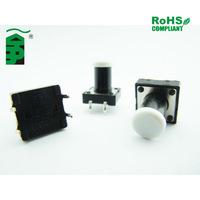miniature push button switch with white cap,4pin tactile switch with ROHS compliance, pushbutton switch