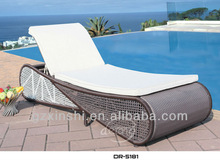 Outdoor cappuccino rattan sun lounger with cushion