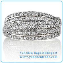 Latest Design Diamond 8k Silver Finger Ring CZ Diamond Brass Cooper Engagement/Wedding Rings