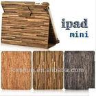 Wooden grain pattern leather case for ipad mini
