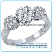 Rose Flower Shaped Diamond Cluster Fancy Finger Ring CZ Diamond Brass Cooper Engagement/Wedding Rings