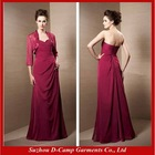 ME-259 burgundy mother of the bride jacket dresses mother of bride long chiffon dresses