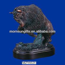 Strong Buffalo Figurine rising up high, custom Buffalo Sculpture