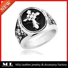 Fine jewelry gothic black man cross heart casting stainless steel cross ring MLSR-0008
