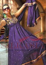 Purple pitta work Anarkali Frock