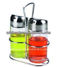 SINOGLASS trade assurance with rack glass oil and vinegar dispenser cruet set
