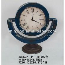 Antique rustic metal desk clock