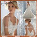 Jw0583 deep v- pescoço cinta spaghetti um- linha de luxo longo vestido de casamento do laço