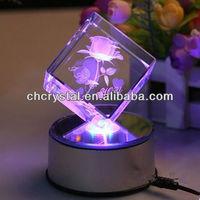 5x5x5cm 3d laser engraved crystal block,3d laser engraved glass cube MH-F0289