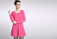 2015 New Fashion Princess cable tunic 100% Cashmere Knitted Dress