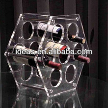 wholesale unique design acrylic display wine rack supermarket