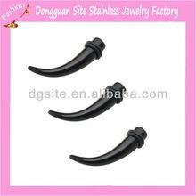 Stainless steel spiral ear taper piercing body jewelry black taper