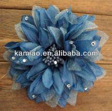 fancy silk flower hair accessories camo daisy flower hair clips crystal hairpins for girls
