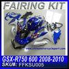 ABS fairing For SUZUKI GSX-R750 600 2008-2010 BLUE FAIRING KIT 3 FFKSU005