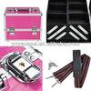 Professional Pink Makeup Artist Cosmetic Train Case w/ Key Lock Aluminum + PVC