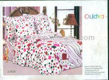 promotion!latest design printing floral design pink print quilt cover set bed sheet set hotsale