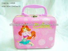 Decorative tin lunch box with handle and lock catch for kids from tin manufactory in dongguan
