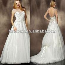 See Through Neckline Sweetheart Long Train White or Ivory Beaded Wedding dress 2013