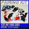 Motorcycle Fairings cheap For YAMAHA R6 1999-2002 RED BLACK WHITE