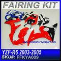 Carenagem kit para yamaha r6 2003-2005 vermelho