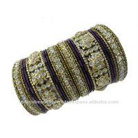 Set Of 22 Pcs Purple Gold Bangles Bollywood Churi India