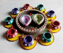 Rangoli diyas - Designer Diwali Diyas - Diwali Decoration - Diwali gift - Dipawali gift