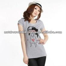 Fashion round neck tee shirt for women