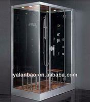 bathroom design 8mm tempered glass rectangular bath shower steam room with Wooden Floorboard