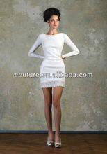 new arrival sexy boat neck knee length taffeta keyhole coverlet TM356 tea length wedding dresses long sleeves