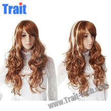 New Mixed Color Kanekalon Fiber Side Bangs Curly Lolita Cosplay Wig