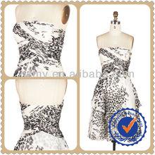 Lady Fashion Strapeless Printed Cocktail Evening Dress