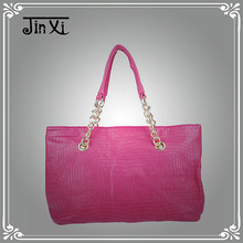 Fashionable women pink double chain strap shoulder bags