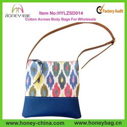 Wholesale Ladies Leather And Ikat Canvas Cross Body fancy colored slings handbags