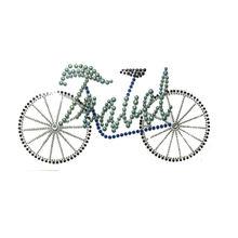 Travel by bicycle hot fix crystal rhinestone motif