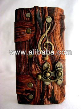 Handmade book style music note pendant leather mobile phone case cover