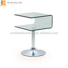 Newland furniture factory new modle hihg quality modern hot bend glass and stainless steel small japanese coffee table (TB-388)