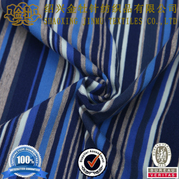 Navy blue and white stripe fabric for polo shirt