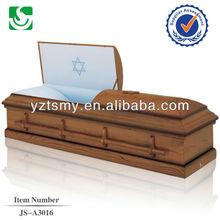 Religious blue velvet funeral oak small wooden casket