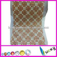 24 rows rhinestone trimming with pearl and rhinestone mesh